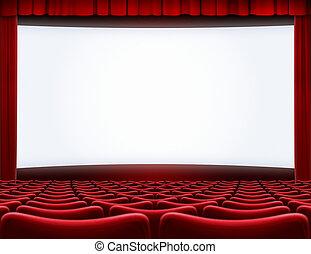 théâtre, cinéma, écran film, illustration, ouvert, 3d