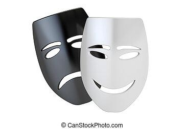 théâtre, concept, masks., triste, rendre, tragicomic, sourire, 3d
