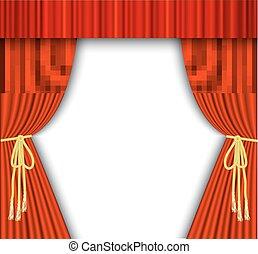 théâtre, curtain., rouges, étape