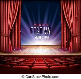 théâtre, exposition, festival, arrière-plan., vector., nuit, spotlight., rideau, rouges, étape