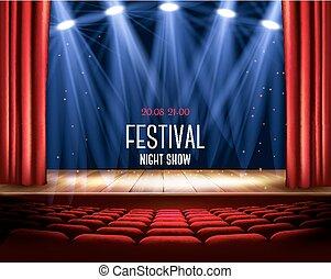 théâtre, exposition, festival, vector., nuit, spotlight., rideau, poster., rouges, étape