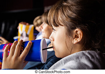théâtre, film regardant, quoique, boire, girl, kola
