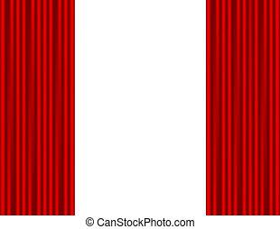 théâtre, fond, rideau, blanc rouge, étape