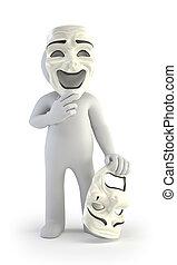 théâtre, gens, -, masques, petit, 3d