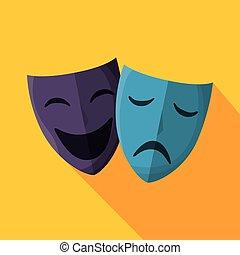 théâtre, isolé, masques, icône