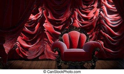 théâtre, luxueux, chaise, rideau, étape