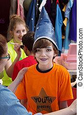 théâtre, magicien, chapeau, étudiant