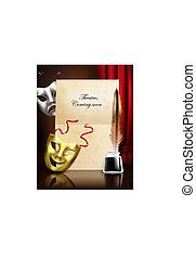 théâtre, masques, réaliste, composition