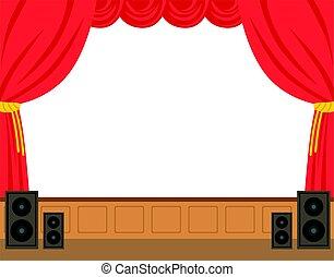théâtre, ouvert, coloré, caractère, illustration, vecteur, curtain., dessin animé, rouges, étape