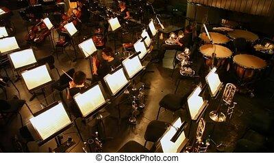 théâtre, presque, banc, deux, opéra, violonistes, vide, nouveau, musical, parler