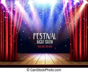 théâtre, rouges, arrière-plan., exposition, vector., festival, rideau, étape, nuit, spotlight.