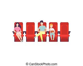 théâtre, séance, film, gens, illustration, vecteur, cinéma, regarder