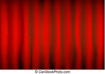 théâtre, tache, vecteur, éclairage, rideau, rouges