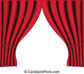 théâtre, vecteur, fond, rideau, rouges, étape