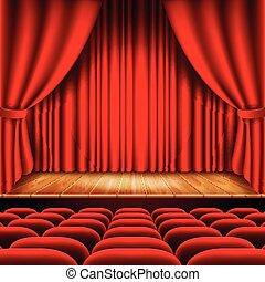 théâtre, vecteur, sièges, rideau, rouges, étape