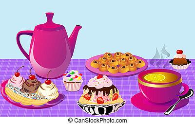 thé, à, citron, et, gâteau fruit, gâteau, de, les, brioche