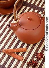 thé, anis, étoile, bâtons, cannelle