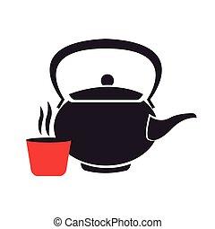thé, aromate, théière, japon
