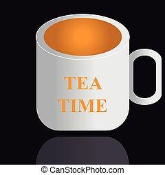 thé, arrière-plan noir, tasse