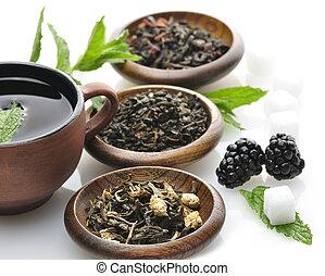 thé, assortiment, lâche