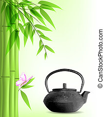 thé, bambou, vert