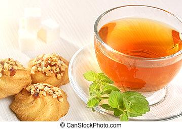 thé, biscuits, tasse