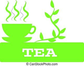 thé, blanc, isolé, fond, tasse
