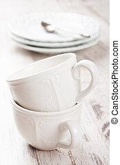 thé, blanc, vaisselle