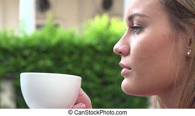 thé, boire, femme, café, ou