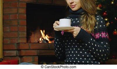 thé, boire, femme, cheminée