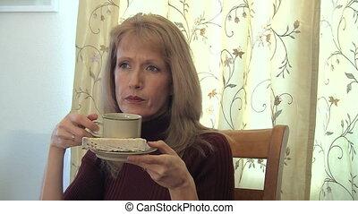 thé, boire, femme