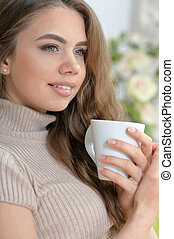 thé, boire, femme, jeune