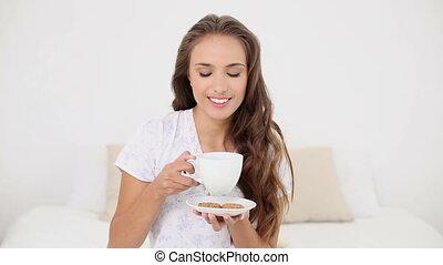 thé, boire, femme, jeune, tasse