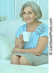 thé, boire, femme, mûrir