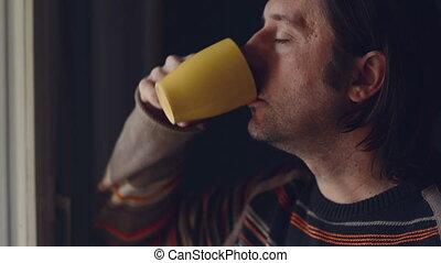 thé, boire, homme