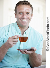 thé, boire, mi homme adulte