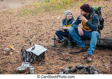 thé, boire, père, forêt, fils
