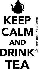 thé, boisson, calme, théière, garder