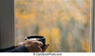 thé buvant, homme, fenêtre