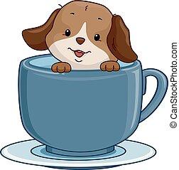 thé, café, chien, illustration, tasse