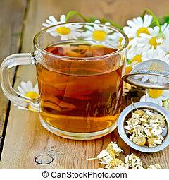 thé camomille, grande tasse, planche, herbier, passoire