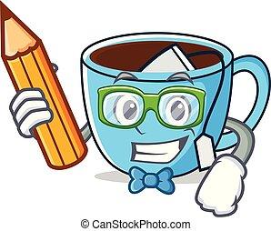 thé, caractère, dessin animé, étudiant, tasse