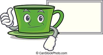 thé, caractère, haut, vert, planche, dessin animé, pouces