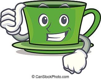 thé, caractère, haut, vert, pouces, dessin animé