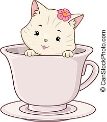 thé, chat, café, illustration, tasse