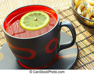 thé, citron, table, tasse