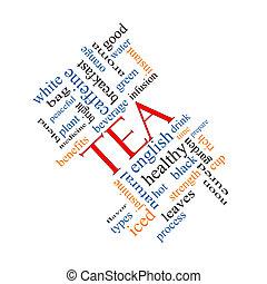 thé, concept, mot, nuage, incliné