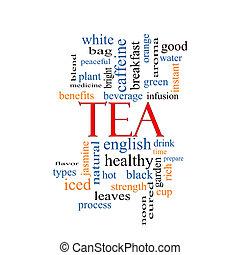 thé, concept, mot, nuage