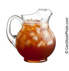 thé, cruche, glace
