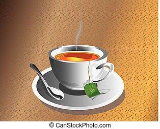 thé, cuillère, chaud, tasse argentée